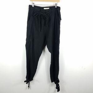 Joie Linen Cargo Tie Waist Ankle Jogger Pants